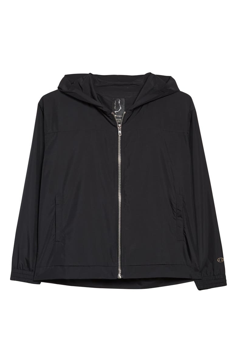 RICK OWENS x Champion Water Repellent Hooded Windbreaker, Main, color, 001