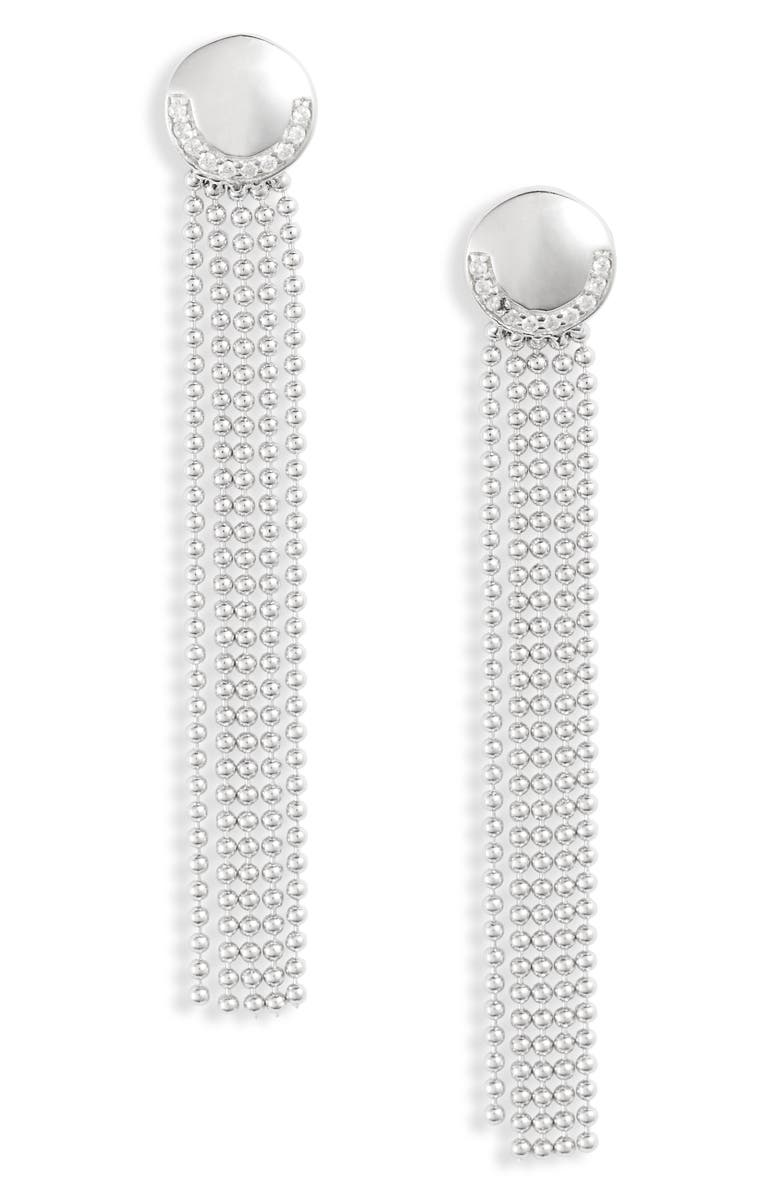 KNOTTY Deco Ball & Chain Fringe Drop Earrings, Main, color, RHODIUM SILVER