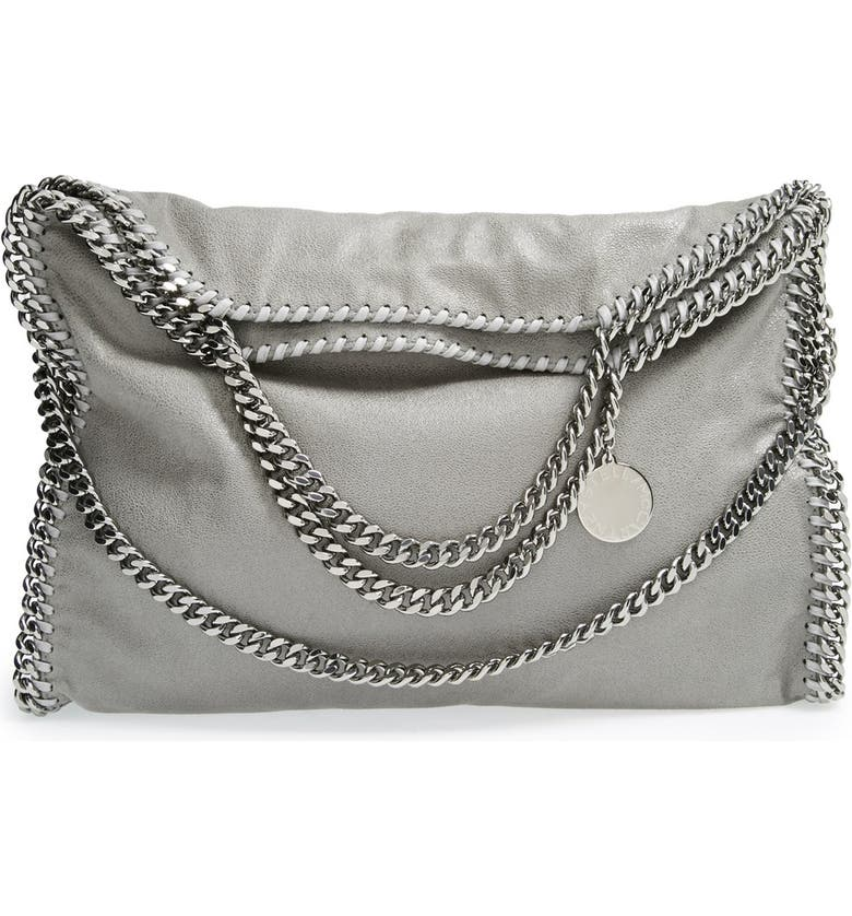 STELLA MCCARTNEY 'Falabella - Shaggy Deer' Faux Leather Foldover Tote, Main, color, LIGHT GREY