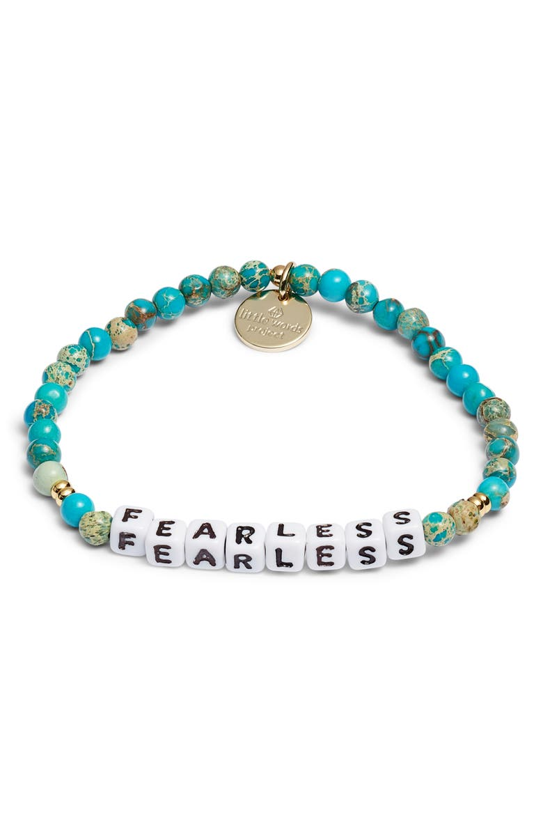 LITTLE WORDS PROJECT Fearless Beaded Stretch Bracelet, Main, color, EMPERORS STONE WHITE