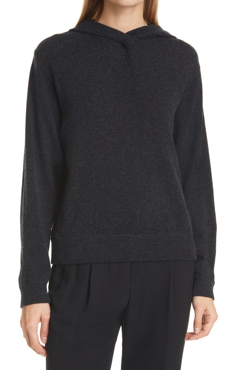 VINCE Overlap Wool & Cashmere Hooded Sweater, Main, color, H CHARCOAL