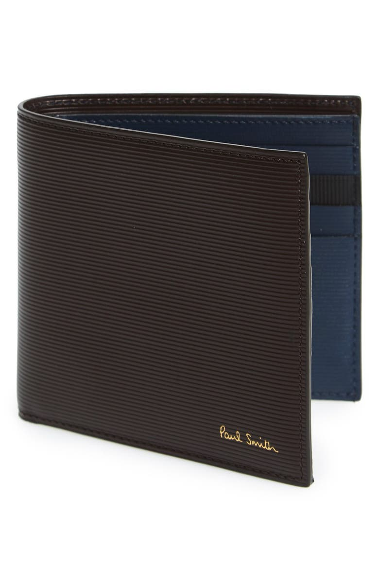 PAUL SMITH Stripe Embossed Two-Tone Leather Wallet, Main, color, 205