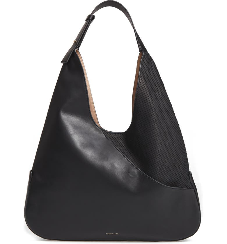 LOUISE ET CIE Large Sonye Leather Hobo Bag, Main, color, 001