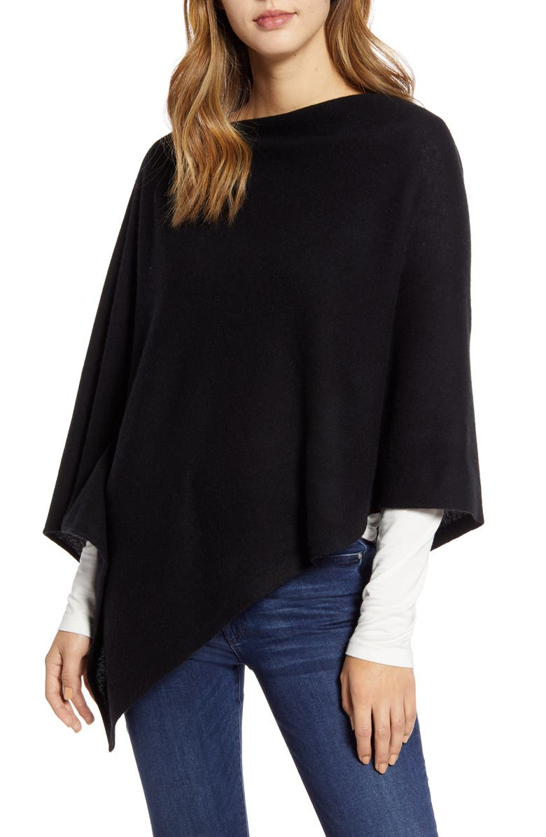 HALOGEN<SUP>®</SUP> Wool & Cashmere Asymmetrical Poncho, Main, color, 001