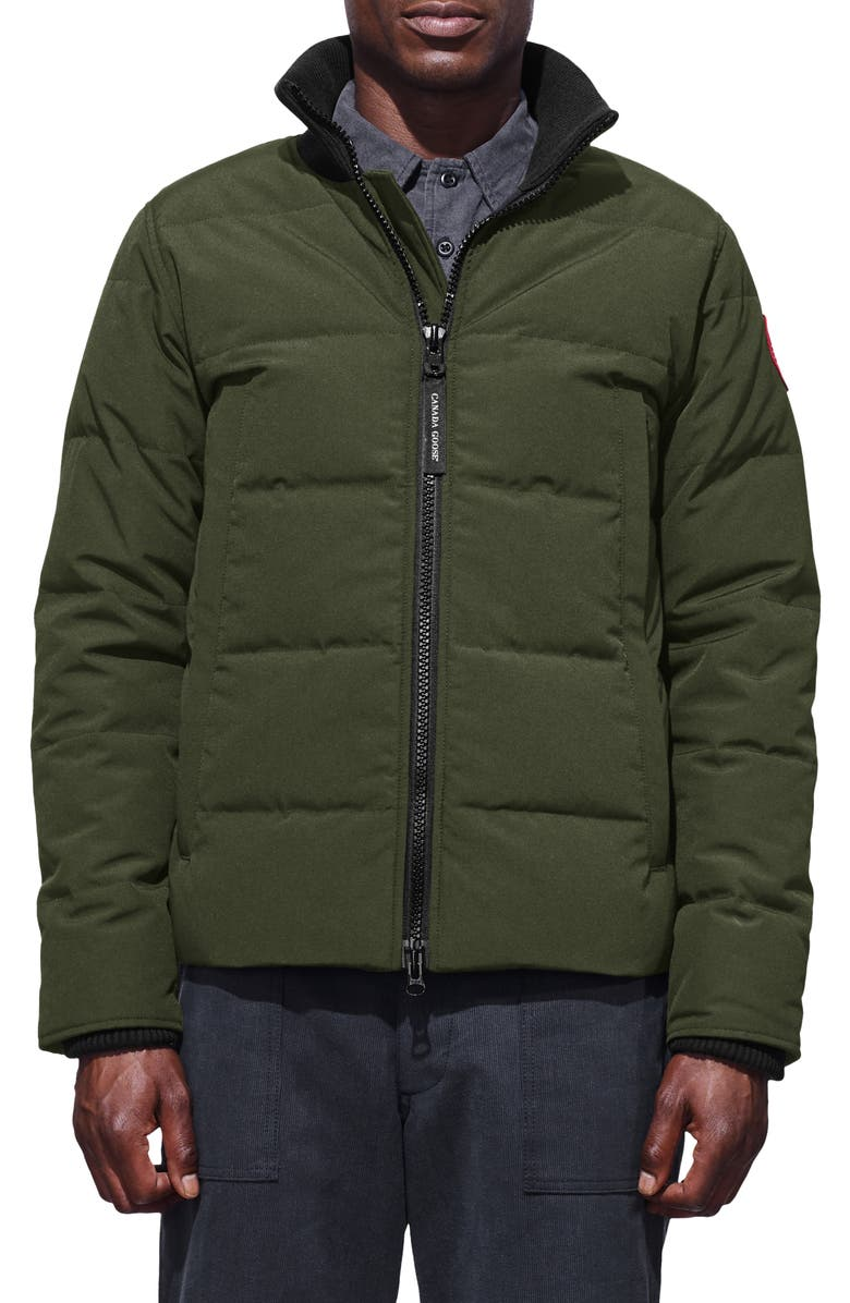 CANADA GOOSE 'Woolford' Slim Fit Down Bomber Jacket, Main, color, MILITARY GREEN