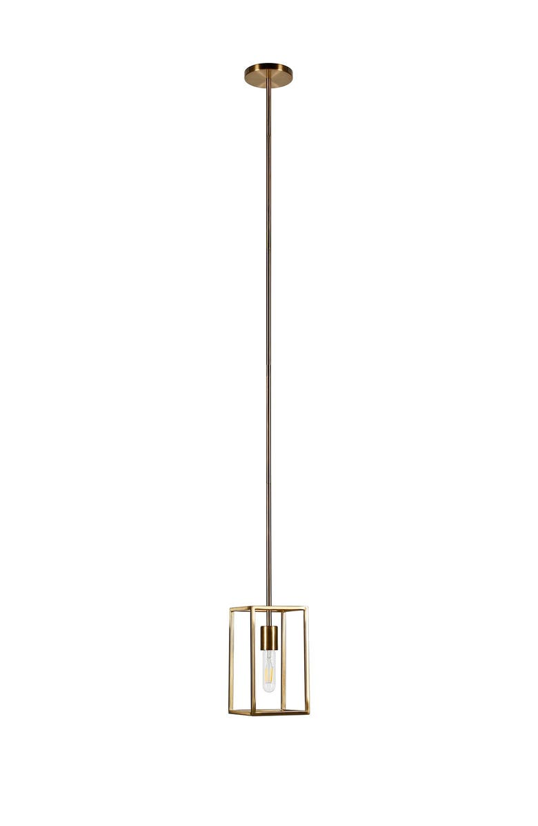 ADDISON AND LANE Cuadro Brass Square Framed Pendant, Main, color, GOLD