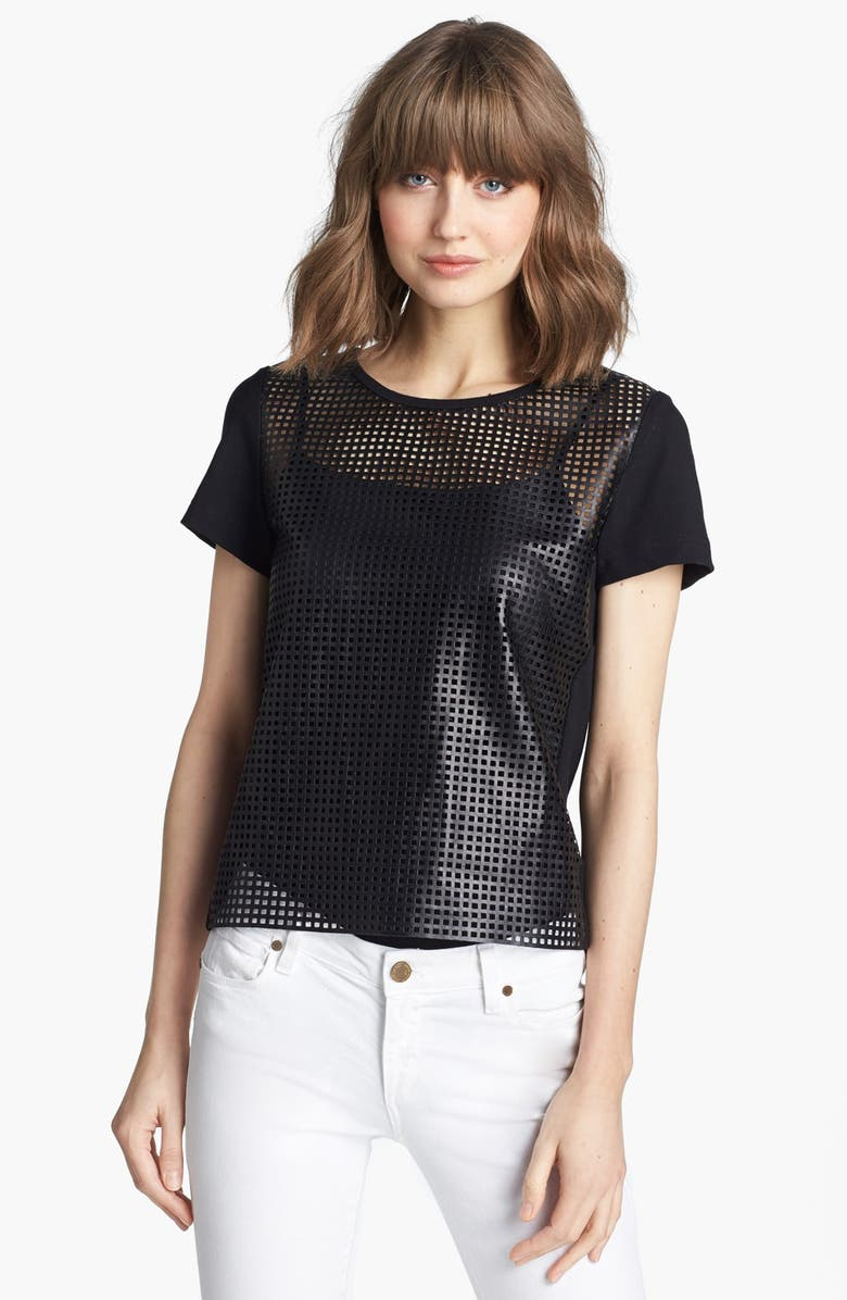 TROUVÉ Perforated Leather Tee, Main, color, BLACK