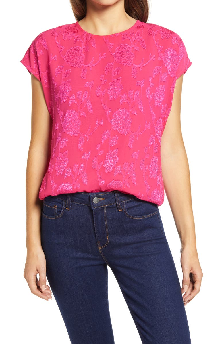 HALOGEN<SUP>®</SUP> Cap Sleeve Metallic Floral Blouse, Main, color, PINK ELECTRIC