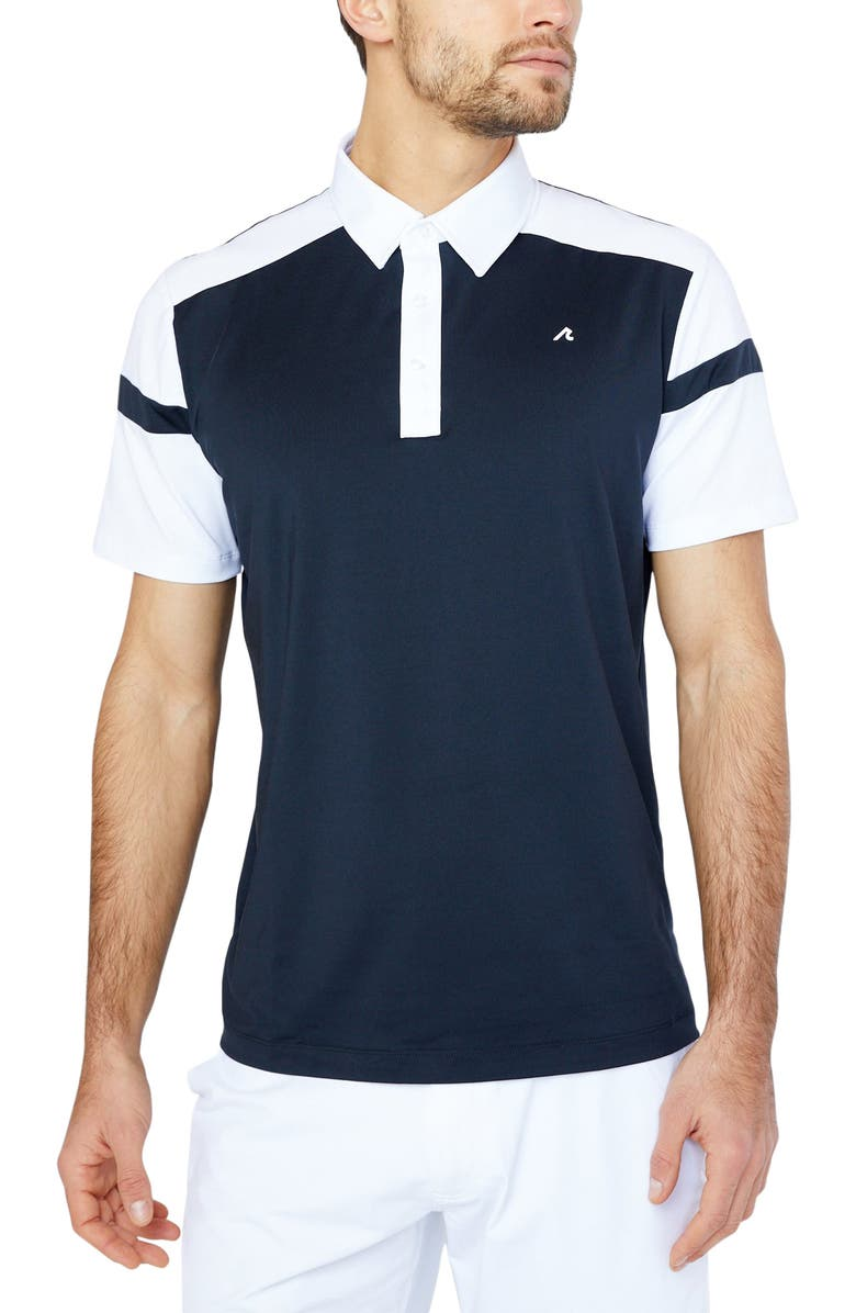REDVANLY Stockton Athletic Fit Colorblock Golf Polo, Main, color, BLACK