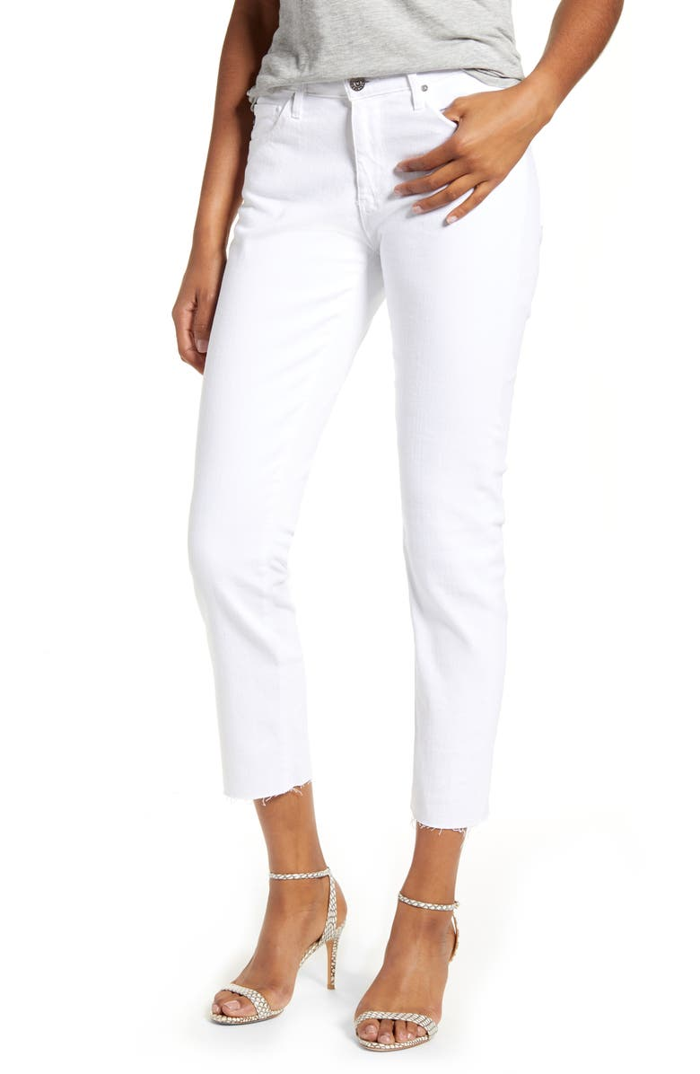 AG Prima Mid Rise Raw Hem Crop White Jeans, Main, color, WHITE