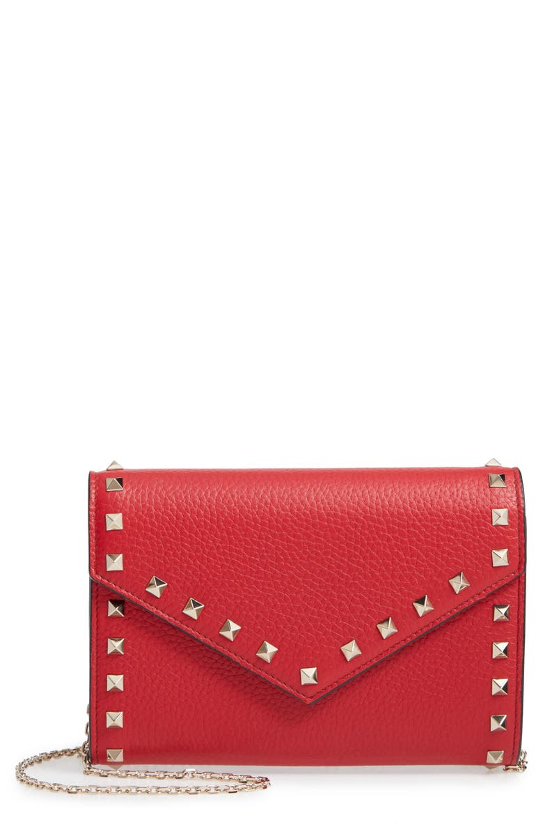 VALENTINO GARAVANI Rockstud V-Flap Calfskin Leather Wallet on a Chain, Main, color, RED