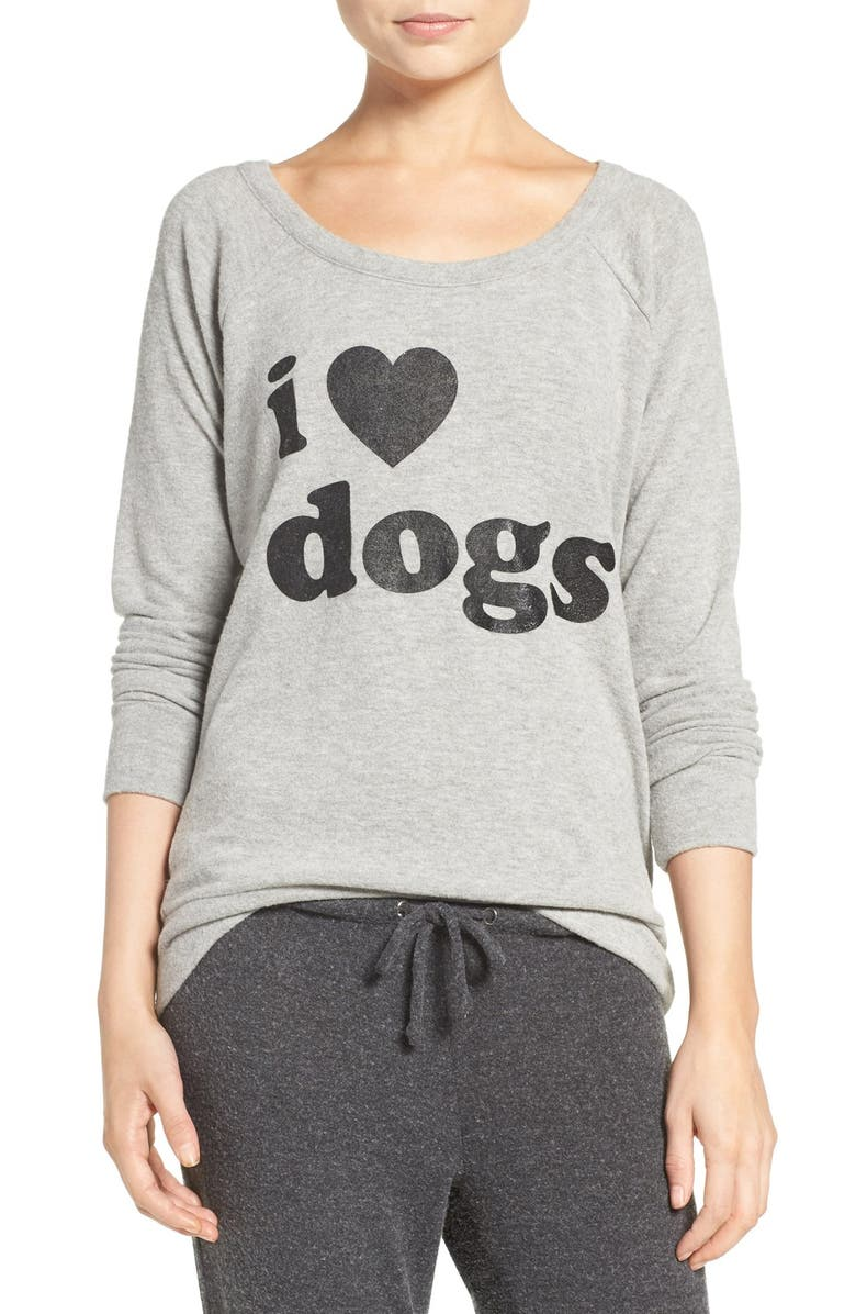 CHASER I Love Dogs Pullover Top, Main, color, HEATHER GREY