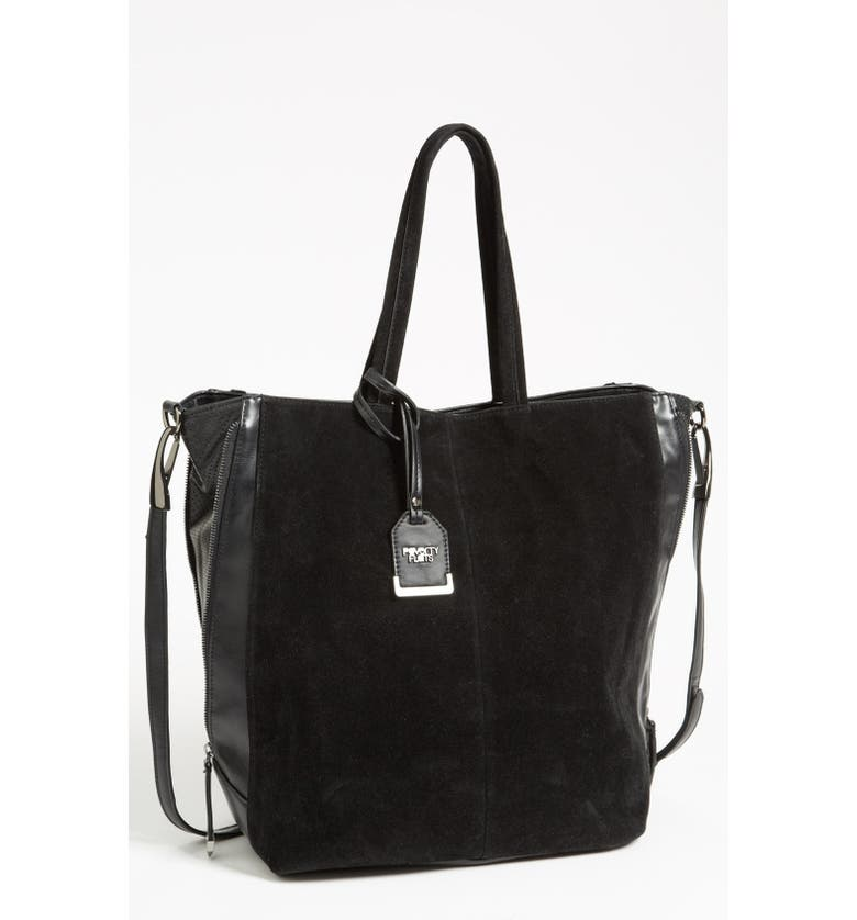 POVERTY FLATS BY RIAN Faux Suede Tote, Extra Large, Main, color, Black