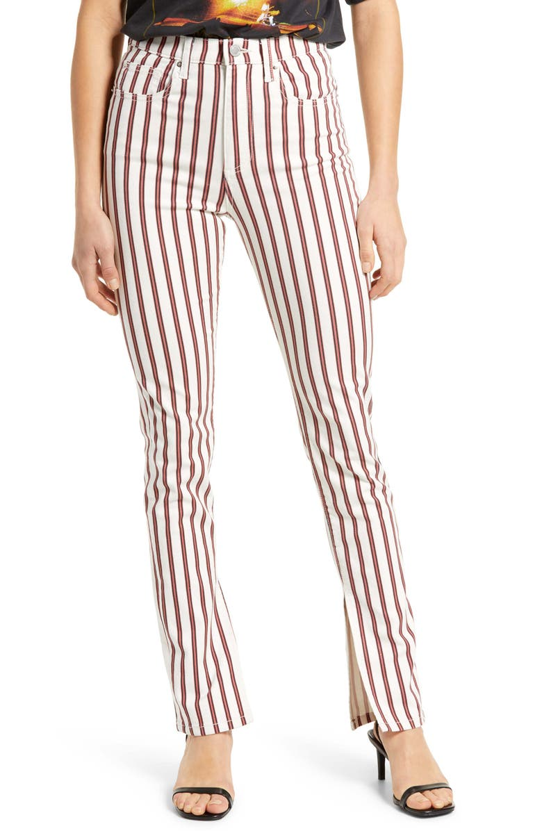 WE WORE WHAT Stiletto Slit Striped Pants, Main, color, IVORY