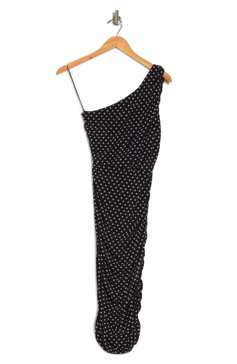 LOVE BY DESIGN Ruched One Shoulder Midi Dress, Main, color, BLACK AND WHITE DOT