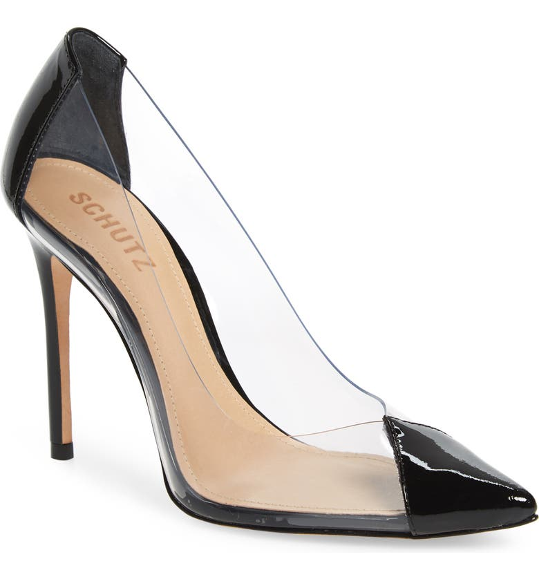 SCHUTZ Cendi Transparent Pointed Toe Pump, Main, color, BLACK PATENT LEATHER