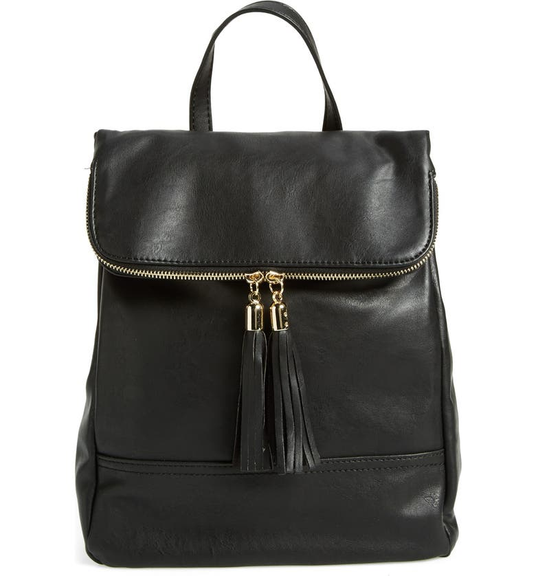 EMPERIA Faux Leather Backpack, Main, color, Black