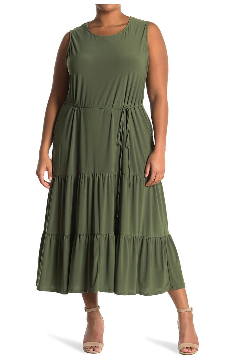 TASH AND SOPHIE Tiered Maxi Dress, Main, color, OLIVE