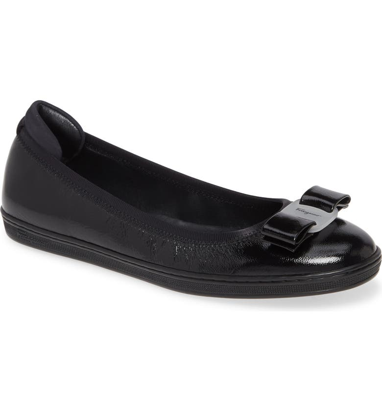 SALVATORE FERRAGAMO Savina Ballerina Flat, Main, color, BLACK
