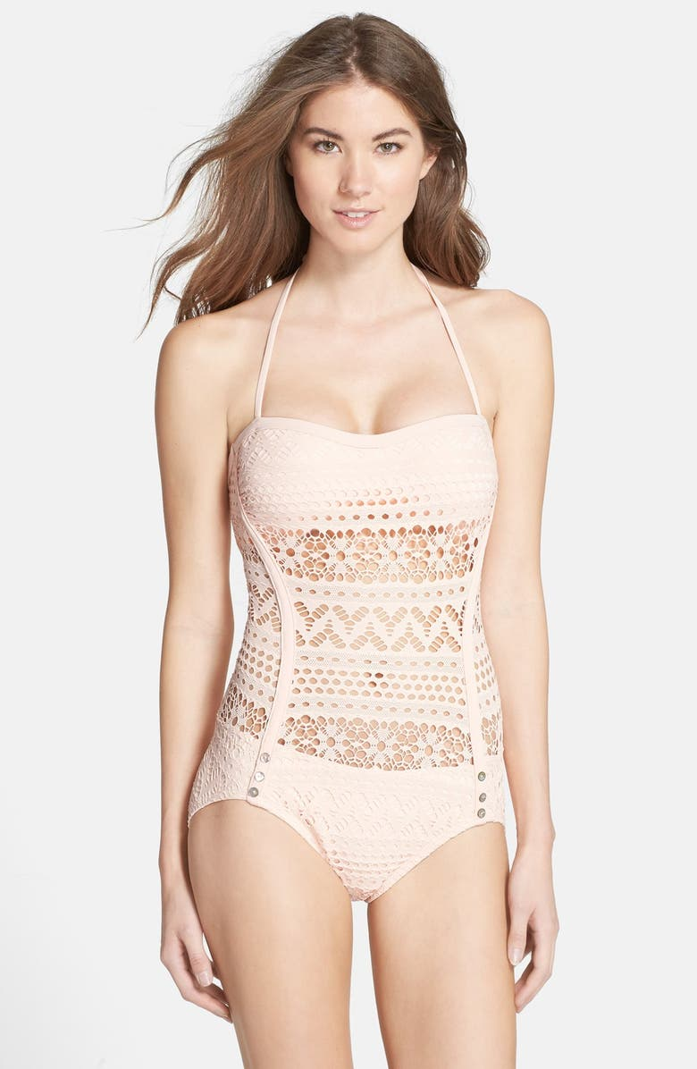 ROBIN PICCONE 'Mia' Crochet Overlay One-Piece Swimsuit, Main, color, PINK CORAL
