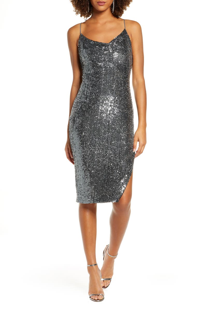 BARDOT Sequin Slip Dress, Main, color, 040