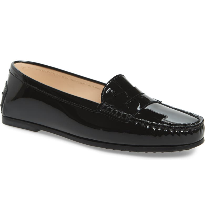 TOD'S New City Gommino Loafer, Main, color, BLACK PATENT