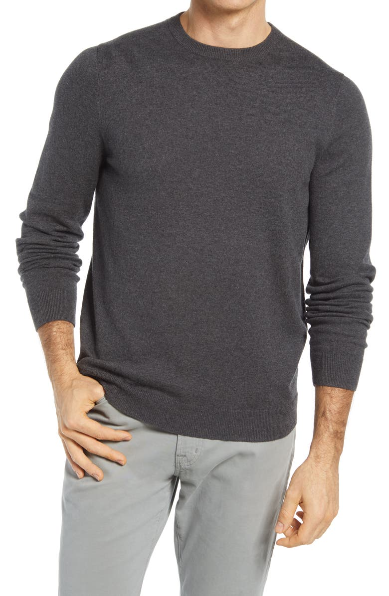 NORDSTROM Cotton & Cashmere Crewneck Sweater, Main, color, DARK GREY HEATHER