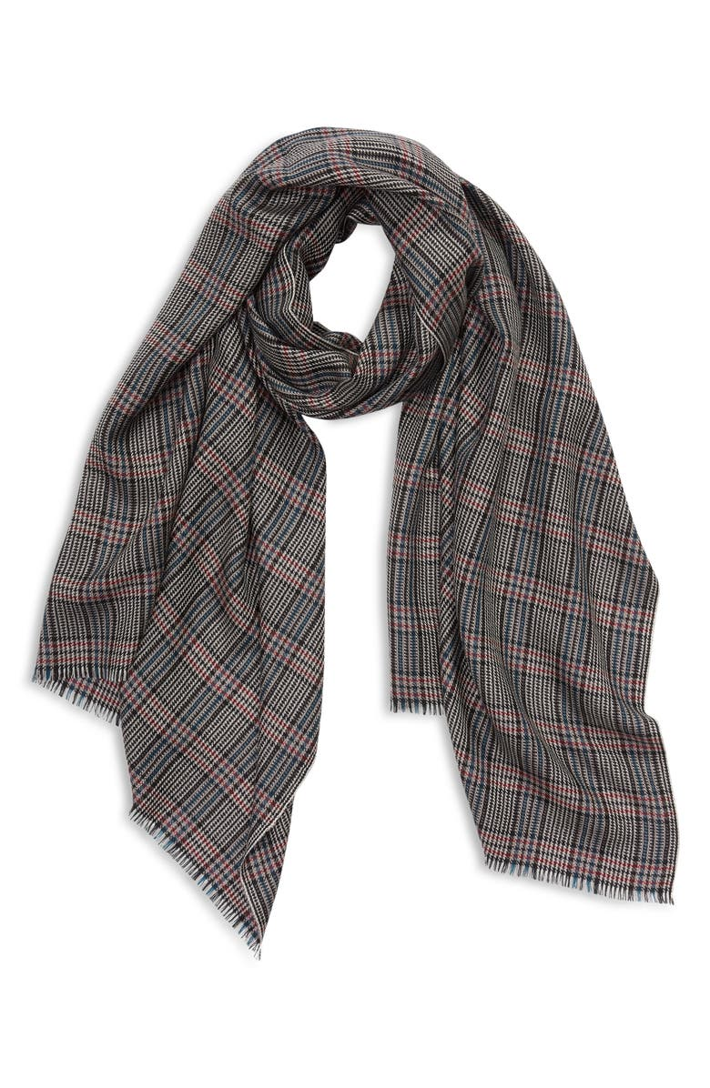 NORDSTROM Check Cashmere Scarf, Main, color, BLACK COMBO