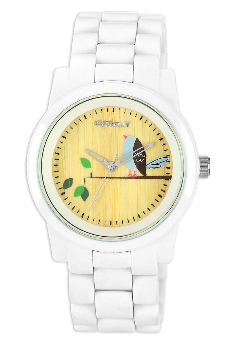 SPROUT<SUP>™</SUP> WATCHES Bird Dial Bracelet Watch, 38mm, Main, color, 100