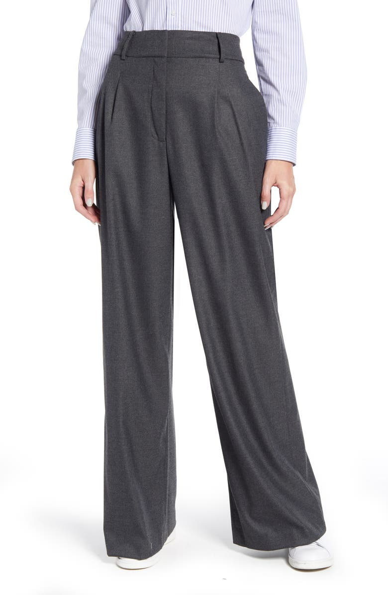 TOMMY HILFIGER Flannel Wide Leg Trousers, Main, color, 021