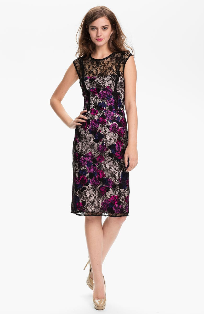 FRENCH CONNECTION 'Fast Lois Lace' Floral Illusion Yoke Sheath Dress, Main, color, 001