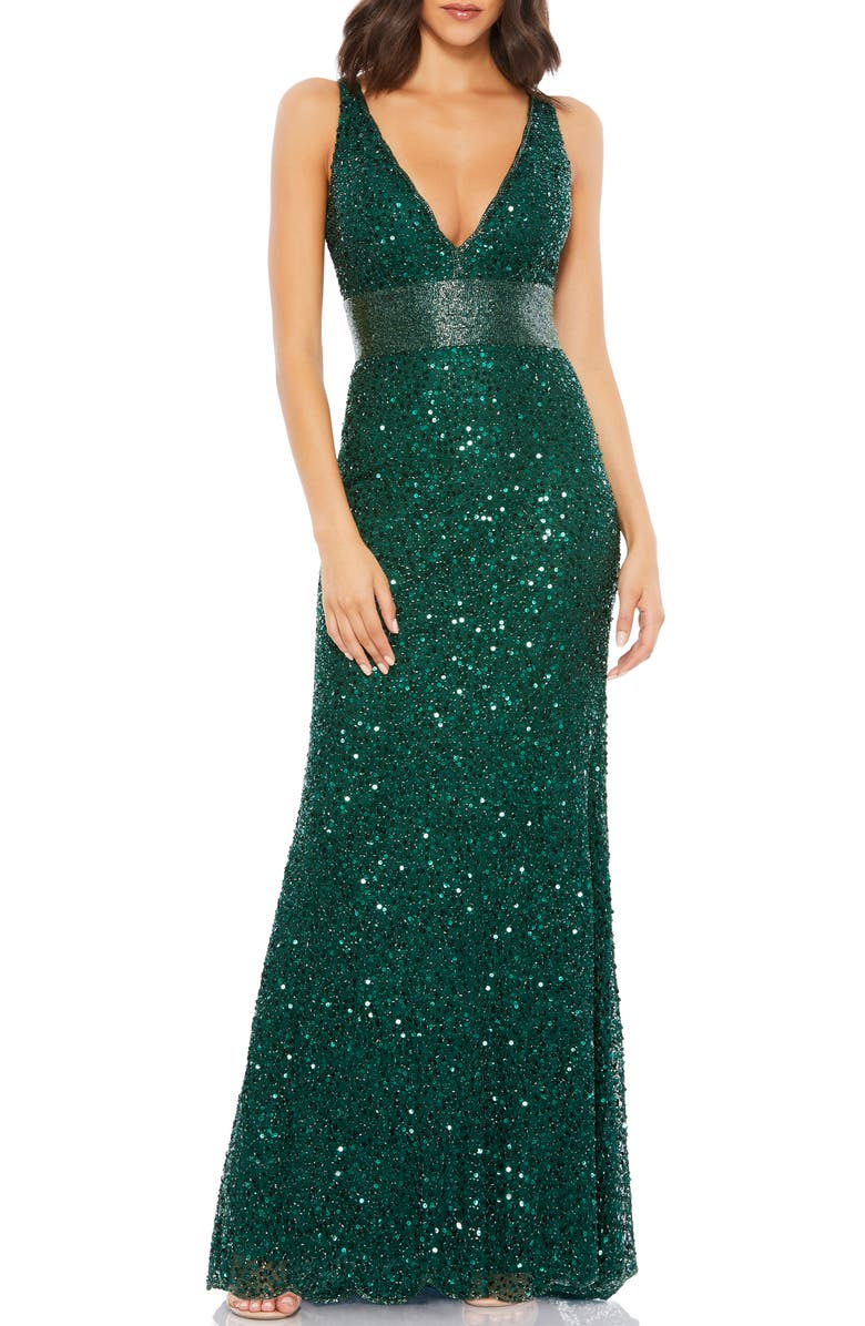 MAC DUGGAL Sequin Column Gown, Main, color, FOREST GREEN