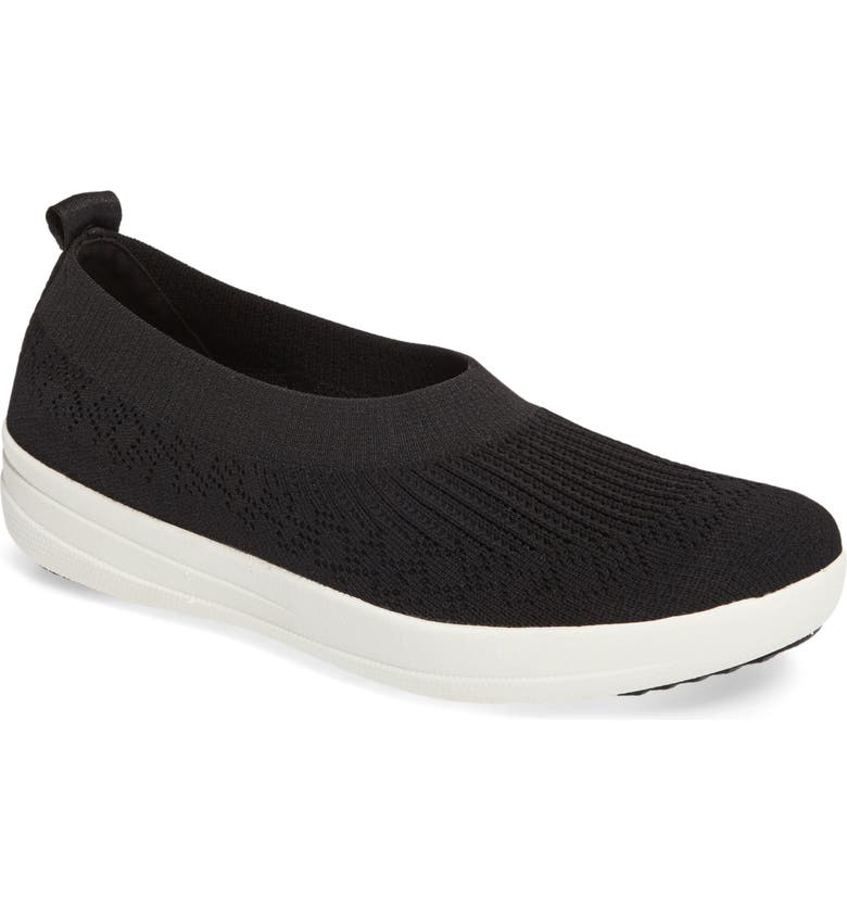 FITFLOP Uberknit Slip-On Sneaker, Main, color, BLACK FABRIC