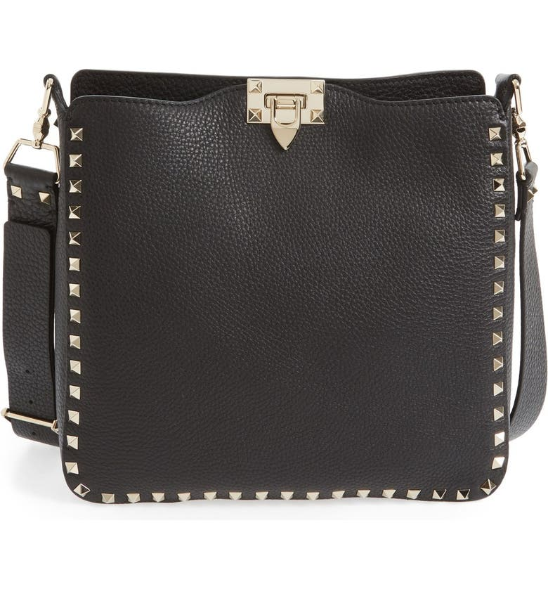 VALENTINO GARAVANI Rockstud Leather Hobo, Main, color, NERO
