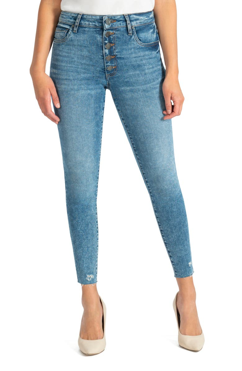 KUT FROM THE KLOTH Donna Raw Hem High Waist Ankle Skinny Jeans, Main, color, 400