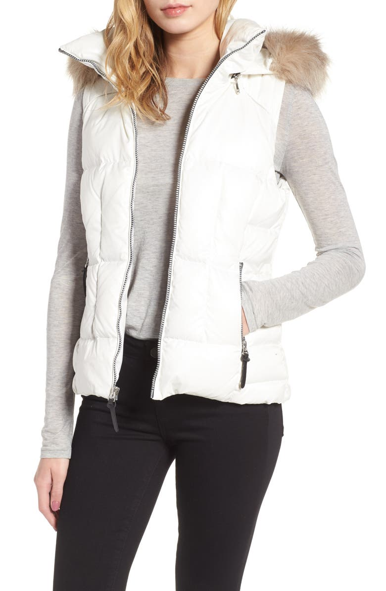ANDREW MARC Lanie Puffer Vest with Faux Fur, Main, color, 100