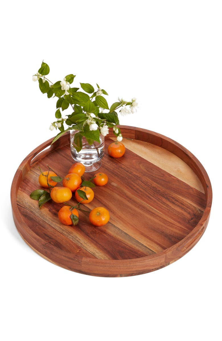NORDSTROM at Home Large Round Acacia Wood Serving Tray, Main, color, 200