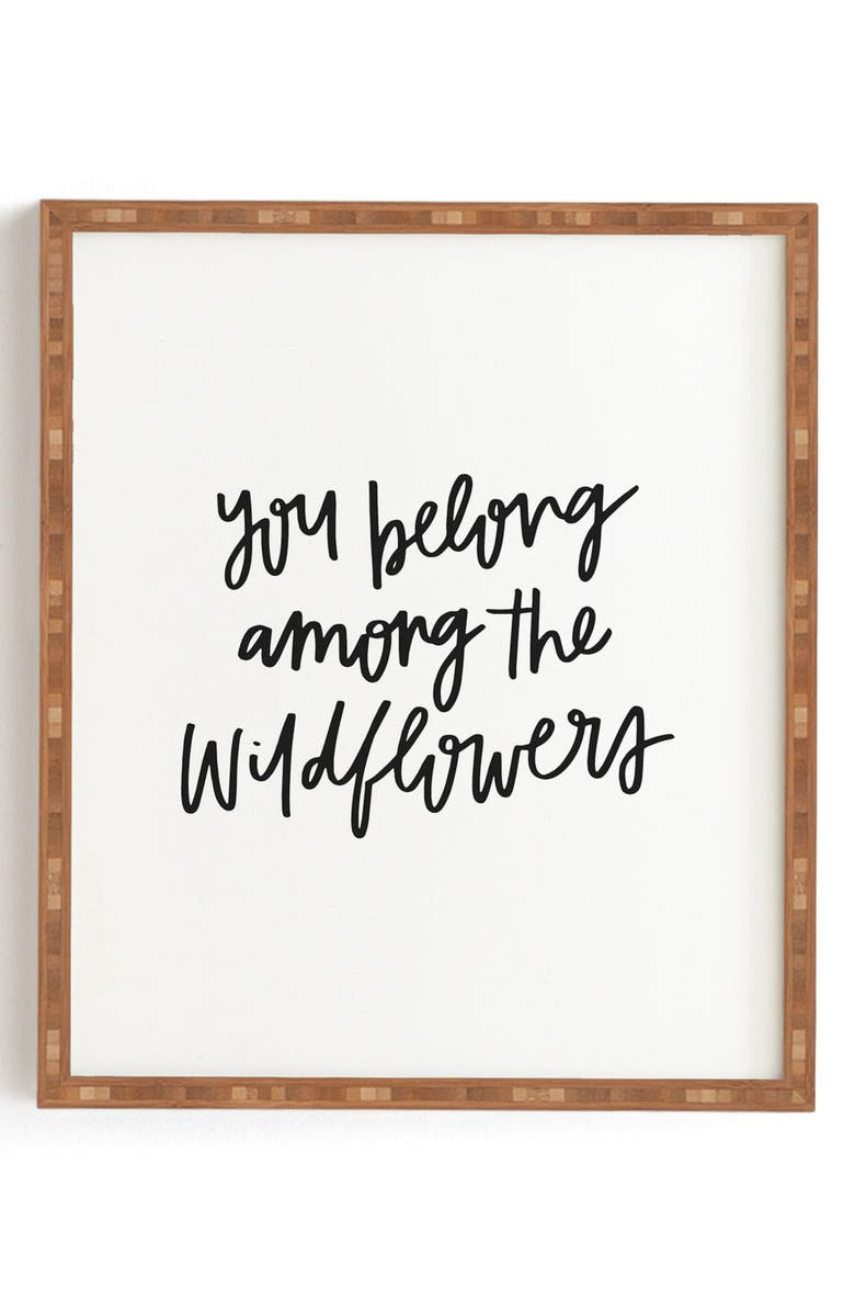 DENY DESIGNS Chelcey Tate - Wildflowers Framed Wall Art, Main, color, BLACK