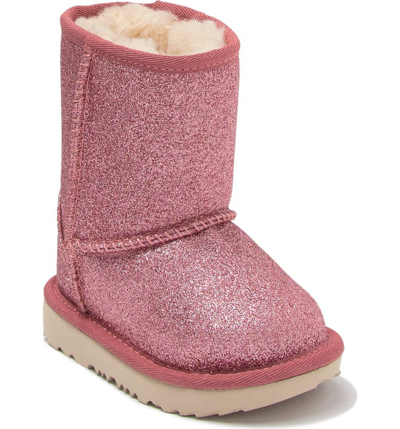 UGG Classic Short II Genuine Shearling Lined Glitter Boot, Main, color, PINK