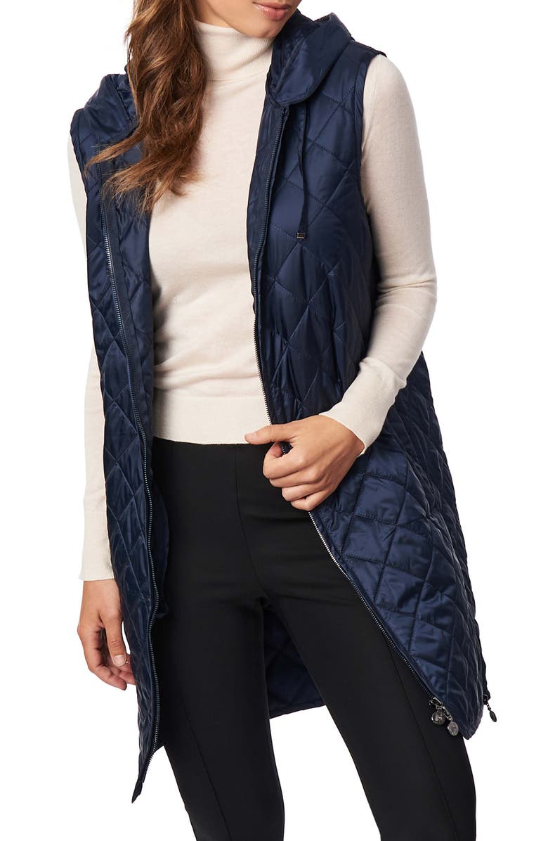 BERNARDO Recycled Polyester Quilted Long Vest with Hood, Main, color, NAVY