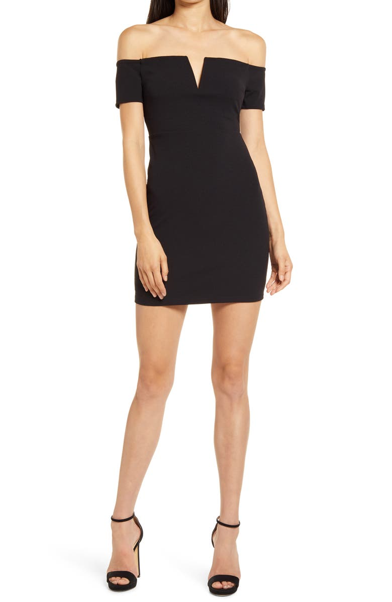 LULUS Cheers to This Off the Shoulder Dress, Main, color, BLACK