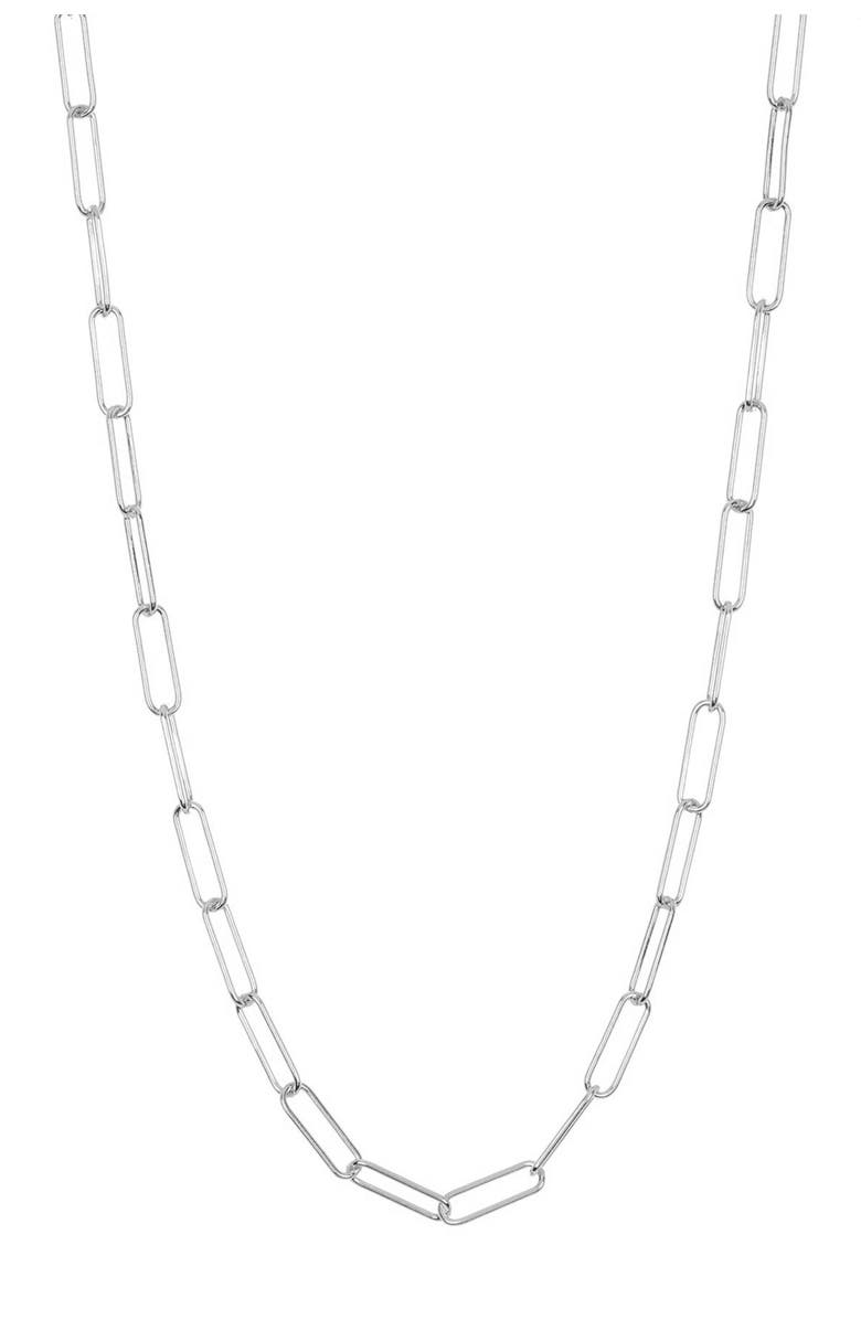 ADORNIA White Rhodium Plated Sterling Silver Paperclip Link Chain Necklace, Main, color, SILVER