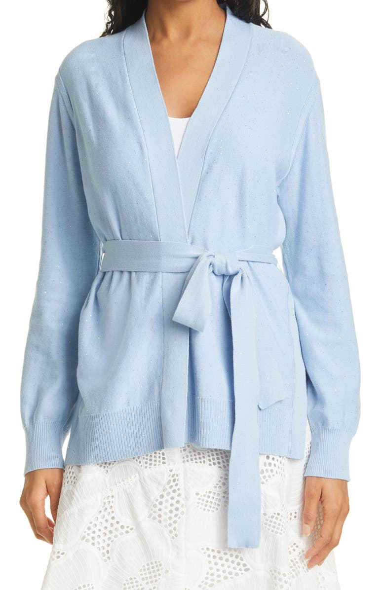 MILLY Tie Front Sequin Cardigan, Main, color, ICE BLUE