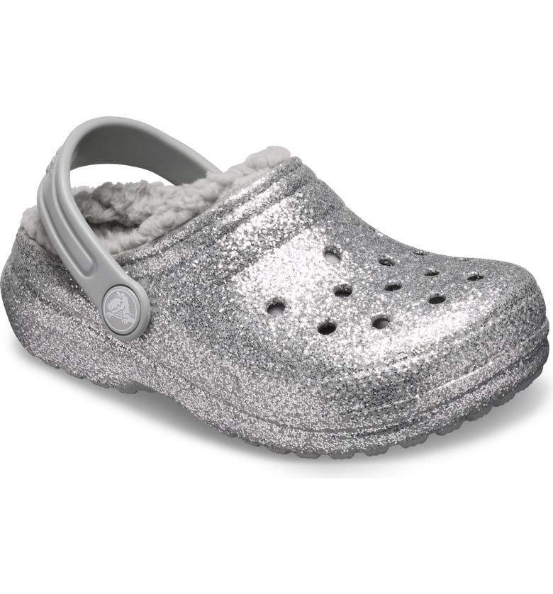 CROCS<SUP>™</SUP> Glitter Classic Faux Shearling Lined Clog, Main, color, SILVER/ SILVER
