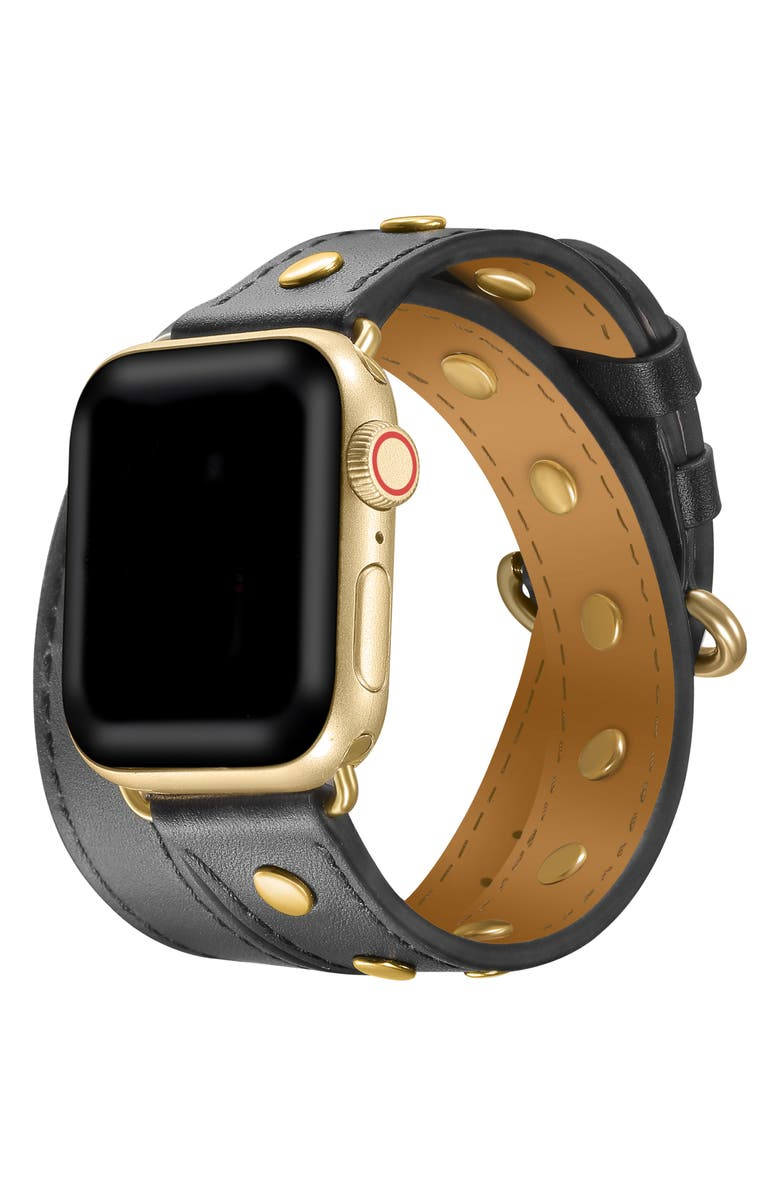 THE POSH TECH Leather Wrap Strap for Apple Watch<sup>®</sup>, Main, color, 001