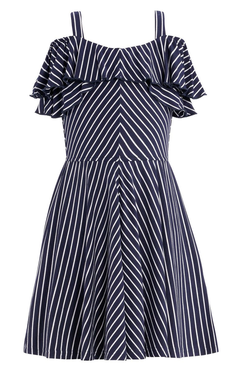 TRULY ME Fit & Flare Ruffle Stripe Dress, Main, color, NAVY/MUL
