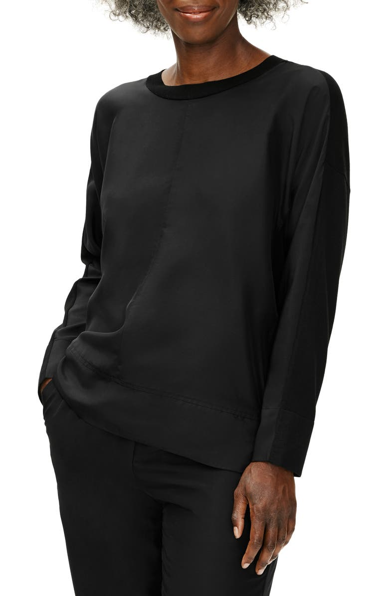 EILEEN FISHER Stretch Crepe & Silk Long Sleeve Top, Main, color, BLACK