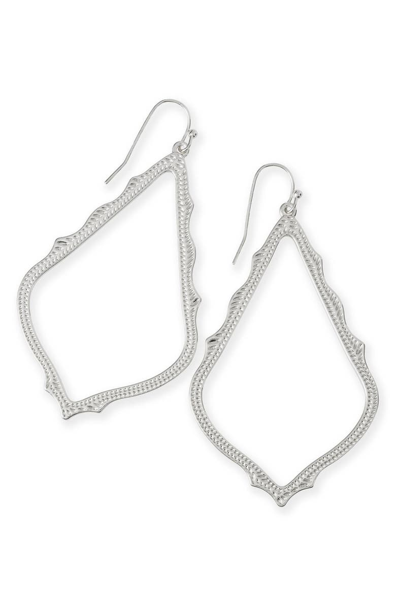KENDRA SCOTT Sophee Textured Drop Earrings, Main, color, SILVER