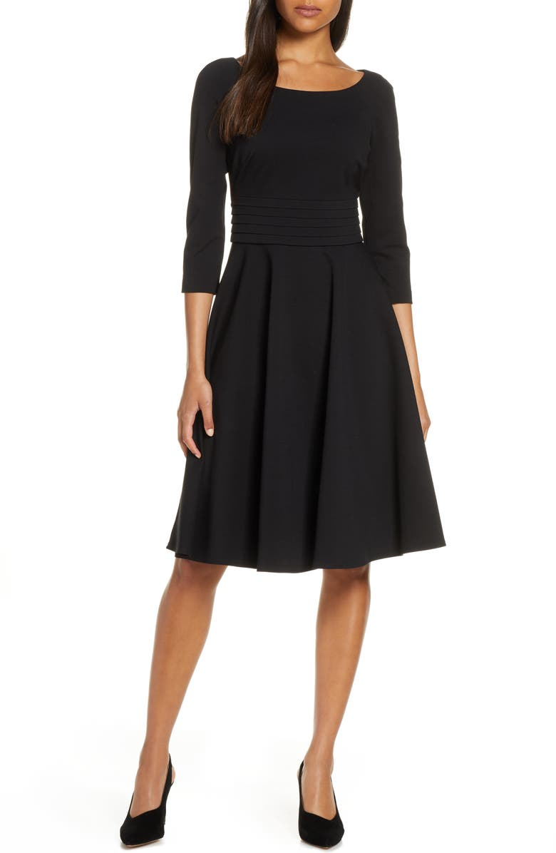 HARPER ROSE Pleated Fit & Flare Dress, Main, color, 001