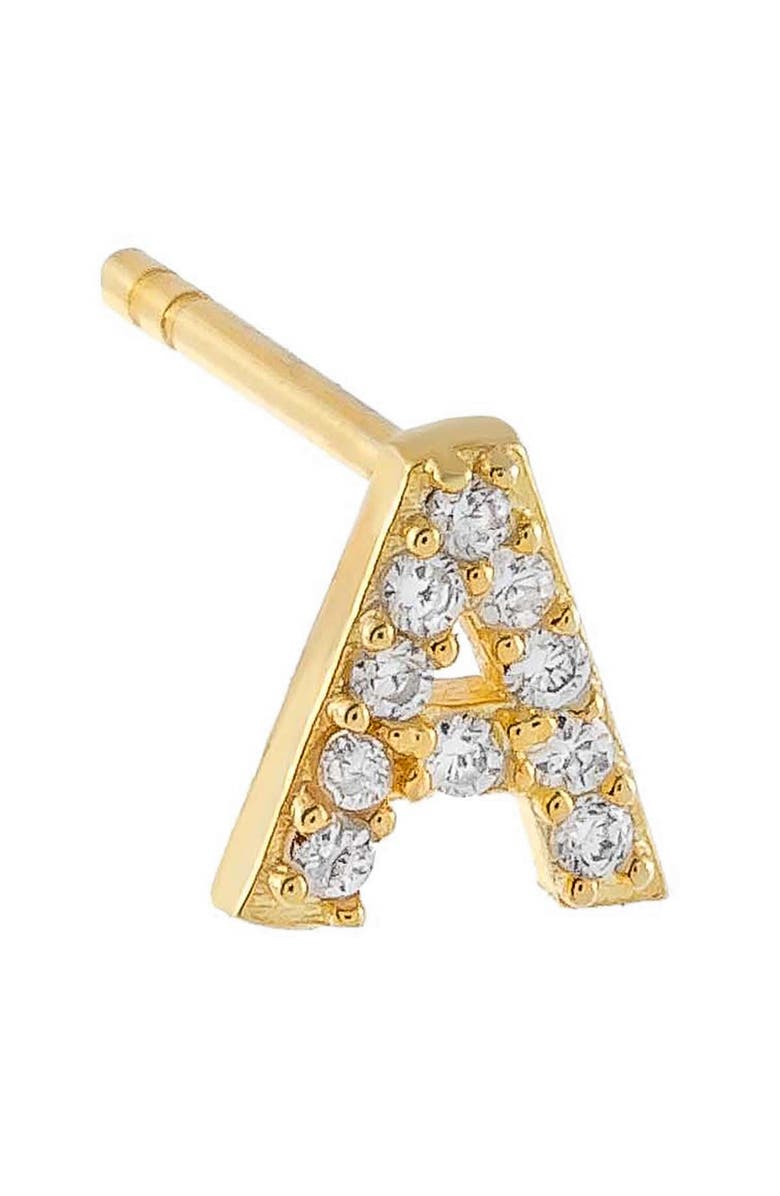 ADINA'S JEWELS Pavé Initial Stud Earring, Main, color, GOLD